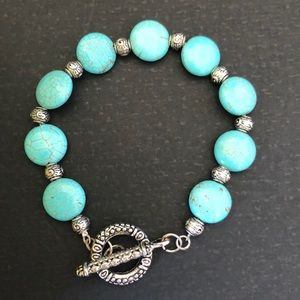 Jewelry - Boho Turquoise and antique silver bracelet